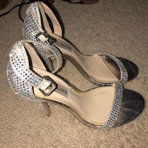Silver rhinestone Steve Madden heels.